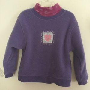 Little Girls' Sweatshirt + Turtleneck Purple Pink